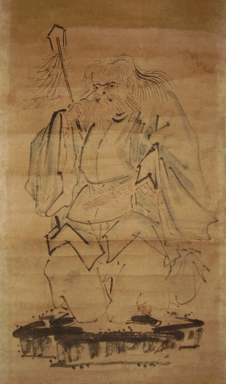 Sarutahiko Ōkami - Sarutahiko Ōkami, in a somewhat comical depiction; taken from a late-19th-century Japanese painting.