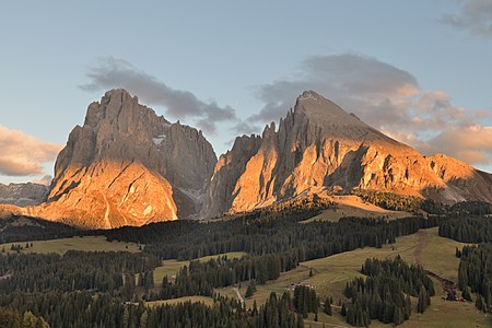 Sunset on the Seiser Alm in South Tyrol, with the mountains of Langkofel group in the background