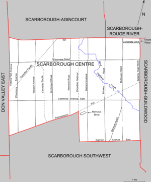 Scarborough Centre (provincial electoral district) - Map of Scarborough Centre