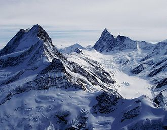 Finsteraarhorn - The Schreckhorn and the Finsteraarhorn (right), with the Lower Grindelwald Glacier between them