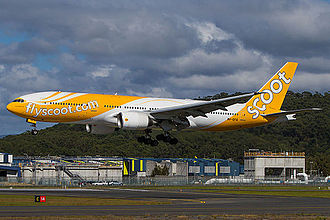 Scoot - Scoot Boeing 777-200ER landing at Gold Coast Airport (October 2013)
