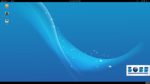 A basic desktop environment of BOSS Linux 6.1 on a personal computer with menus above and a taskbar below.