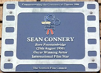 Sean Connery plaque near the site of his birth in Fountainbridge, Edinburgh Sean Connery plaque, Fountainbridge Edinburgh.jpg