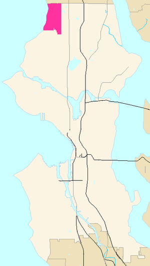 Broadview, Seattle - Broadview, shown in magenta within the city of Seattle