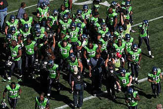 Seattle Seahawks - Seahawks players wearing green jerseys in 2009.