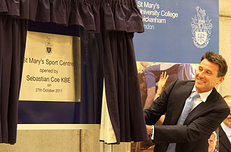 St Mary's University, Twickenham - Seb Coe opening St Mary's £8.5 million Sports Centre.