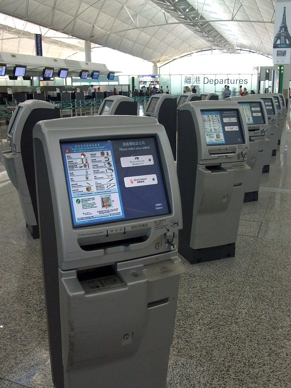 Self Check-In Kiosks at the Hong Kong International Airport