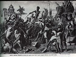 """An engraving titled """"Sepoy Indian troops dividing the spoils after their mutiny against British rule"""" gives a contemporary view of events from the British perspective."""