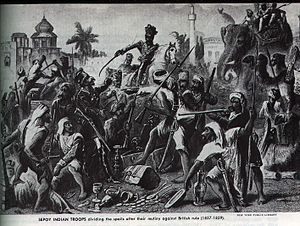 Pattern 1853 Enfield - An engraving titled Sepoy Indian troops dividing the spoils after their mutiny against British rule, which include a number of muskets
