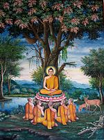 Painting of the first sermon depicted at Wat Chedi Liem in Thailand.