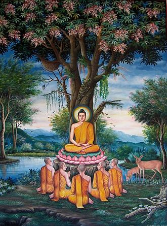 Miracles of Gautama Buddha - Painting of the first sermon depicted at Wat Chedi Liem in Thailand