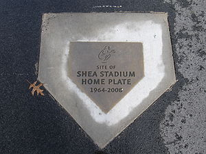 Shea Stadium - Plaque commemorating the location of Shea Stadium's home plate, now in Citi Field's parking lot.