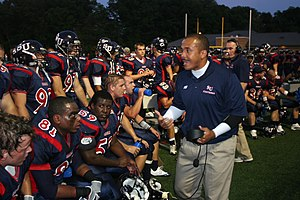 Shenandoah Hornets - Coach rallying the Shenandoah Men's Football team.