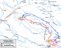 Routes of Federal and Confederate cavalry to Trevilian Station, June 7–10, 1864