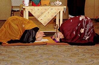 "Dharma transmission - Michel Genko Dubois (left) and Dennis Genpo Merzel performing ""mind to mind"" in Dubois's shiho ceremony."