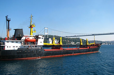 As the only route to the Black Sea, the Bosphorus is one of the busiest waterways in the world. Ships under Second Bosphorus Bridge (September 2011).jpg