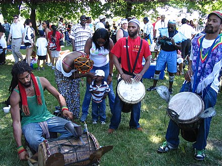 Musicians playing the drums during Caribana. Side show (3814879441).jpg