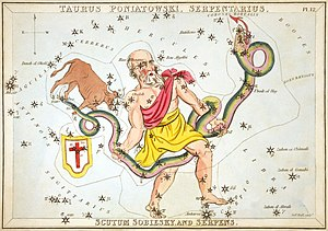 Scutum (constellation) - Serpens held by Ophiuchus, as depicted in Urania's Mirror, a set of constellation cards published in London c. 1825. Above the tail of the serpent is the now-obsolete constellation Taurus Poniatovii while below it is Scutum.