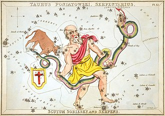 Serpens - Serpens held by Ophiuchus, as depicted in Urania's Mirror, a set of constellation cards published in London c. 1825. Above the tail of the serpent is the now-obsolete constellation Taurus Poniatovii while below it is Scutum