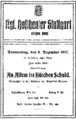 Siegfried Wagner - Announcement for the first performance of Hütchen ist an allem schuld - Stuttgart 1917.png