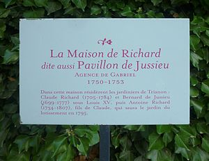 Palace of Versailles Research Centre - Sign marking the Jussieu Pavilion outside the Palace of Versailles Research Centre