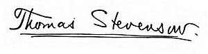 Thomas Stevenson - Image: Signature of Thomas Stevenson