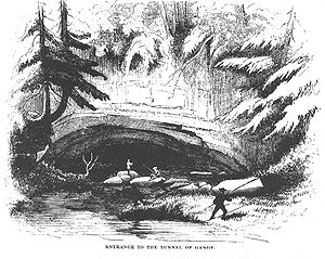 """Sinks of Gandy - The """"Tunnel of Gandy"""" as it appeared in the 1850s. Source: Strother's 1873 Harper's article, """"The Mountains""""."""
