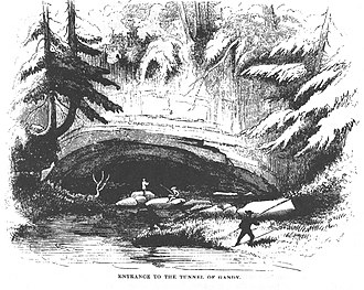 "Sinks of Gandy - The ""Tunnel of Gandy"" as it appeared in the 1850s. Source: Strother's 1873 Harper's article, ""The Mountains""."