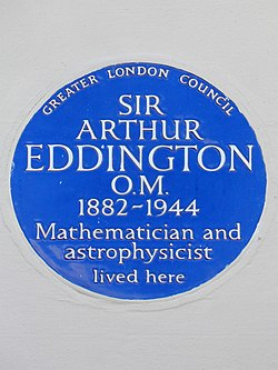 Photo of Arthur Stanley Eddington blue plaque
