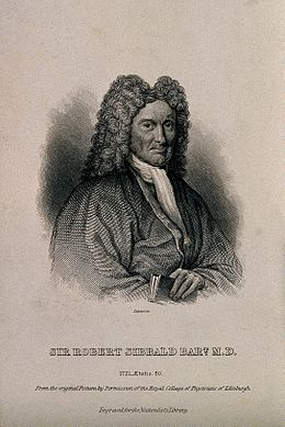 Sir Robert Sibbald. Line engraving by W. H. Lizars after J. Wellcome V0005420.jpg
