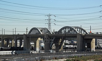 The Amazing Race 15 - The Sixth Street Viaduct over the Los Angeles River between Downtown Los Angeles and the Boyle Heights neighborhood was the starting line of The Amazing Race 15.