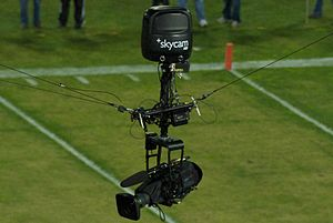 A Skycam HD camera at Stanford Cardinals Stadium