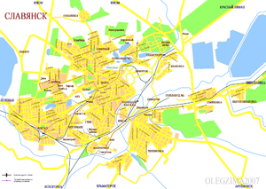 Сла́вянск, карта