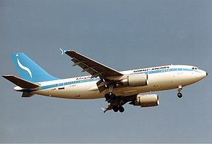 Somali Airlines - A Somali Airlines Airbus A310-300 in flight (1989).