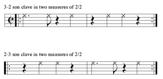 Son montuno - 3-2 clave and 2-3 clave written in cut-time.