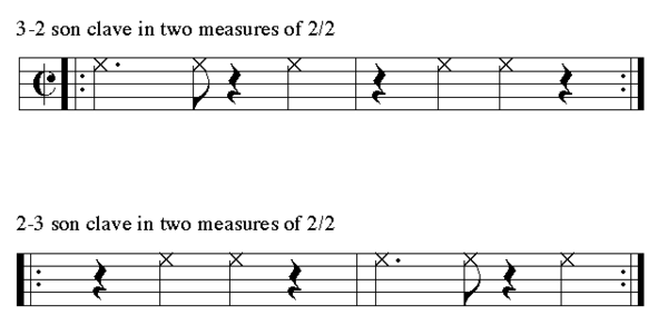 3-2 clave ( Play (help*info) ) and 2-3 clave ( Play (help*info) ) written in cut-time Son clave cut-time 3-2 & 2-3.png