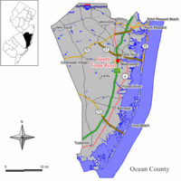 Map of South Toms River in Ocean County. Inset: Location of Ocean County highlighted in the State of New Jersey.