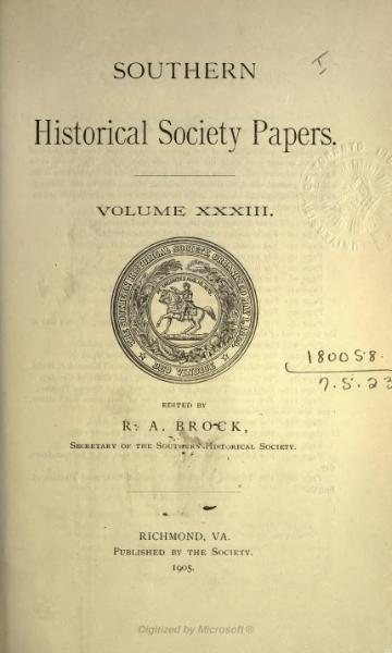 File:Southern Historical Society Papers volume 33.djvu