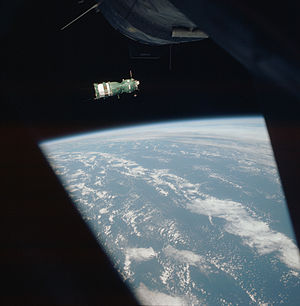 Kosmos 638 - A manned Soyuz 7K-TM as seen from Apollo module during the Apollo-Soyuz Test Project