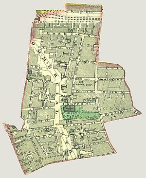 Spitalfields - A map showing the bounds of the Parish of Spitalfields, c.1885