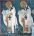 St. Gregory of Agrigentum and St. Antipas of Pergamon, south wall of diakonikon.jpg