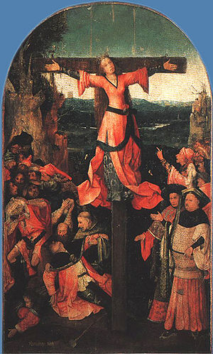Central panel of the Triptych of the Crucified...
