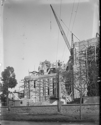 St Mary's Cathedral, Perth - The expansion of the cathedral underway in 1929