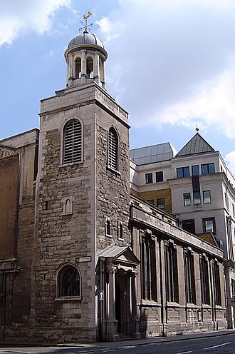 St Katharine Cree - View from the southwest, showing the 16th century tower