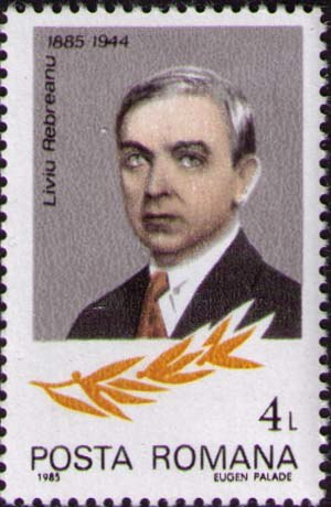 Liviu Rebreanu - Liviu Rebreanu on a stamp issued by the Romanian Post in 1985