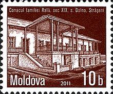 Conacul familiei Ralii ilustrat pe un timbru poștal din Republica Moldova