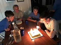 Starr-180804-1828-Theobroma cacao-Kamodas chocolate chantilly birthday cake for Tanner with Noah Jen and Hayden photo from Ray-Hawea Pl Olinda-Maui (30834259748).jpg