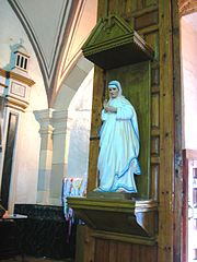 Statue of Mother Teresa on display at the Parish of Nuestra Señora del Rosario (Our Lady of the Rosary) in Real del Monte, Hidalgo, Mexico.