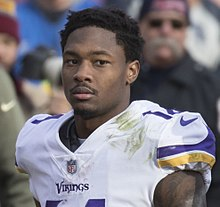 A portrait photo of Stefon Diggs in his Vikings uniform