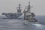 Stern view of USS Lake Champlain (CG-57) in formation behind USS Carl Vinson (CVN-70) 170601-N-RM689-204.jpg